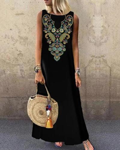 Black Printed Sleeveless O-neck Casual Dress