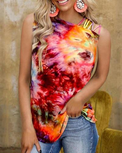 Women's Rainbow Tie-dye Sexy Graphic Vest