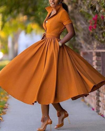 Women's A-Line Half Sleeve Dress Midi Dress