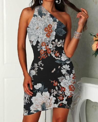 Women Sexy One Shoulder Floral Bodycon Irregular Cut Dress