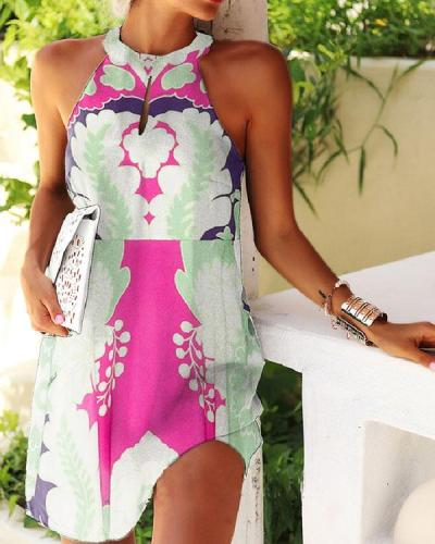 Sexy Sleeveless Halter Neck Print Bodycon Mini Dress