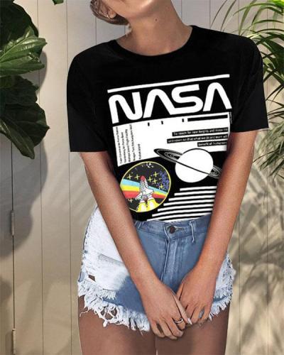 Planet NASA Print Round Neck T-shirt