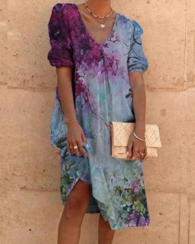 Tie dye V-Neck Half Sleeve Shift Casual Dresses