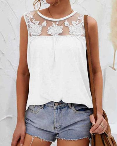 Floral Mesh Patchwork Tank Tops Sleeveless Blouse