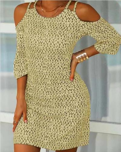 Cotton Blend Casual Half Sleeve Printed Dresses