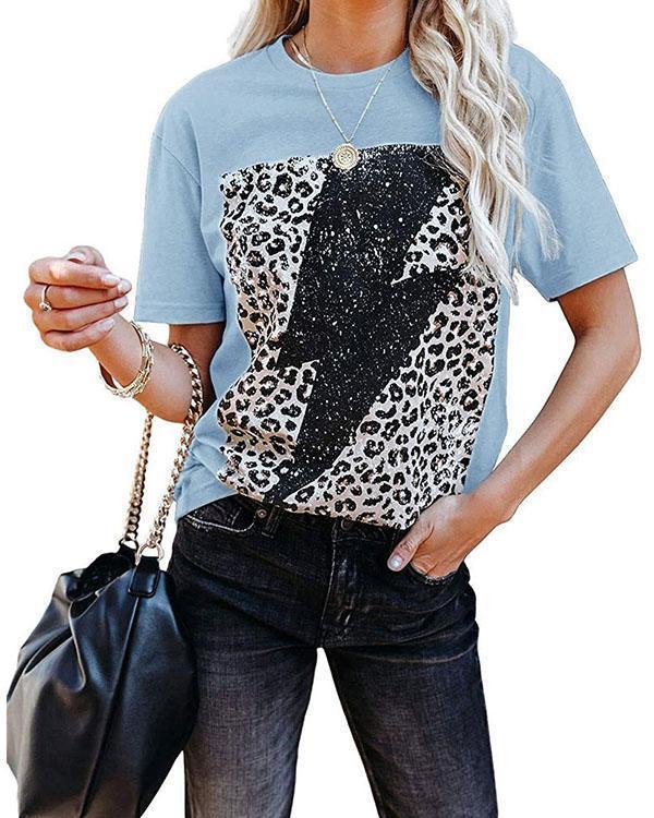 Leopard Lightning Print Round Neck Short Sleeves