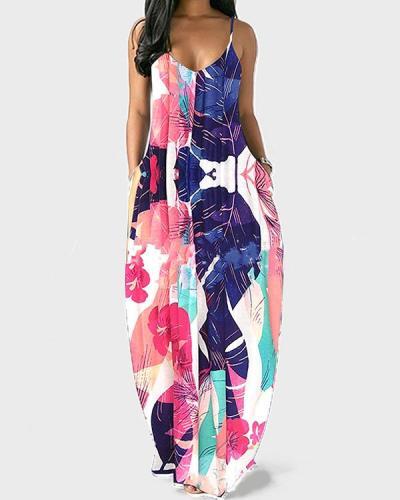 Printed Sexy Deep V Suspender Dress