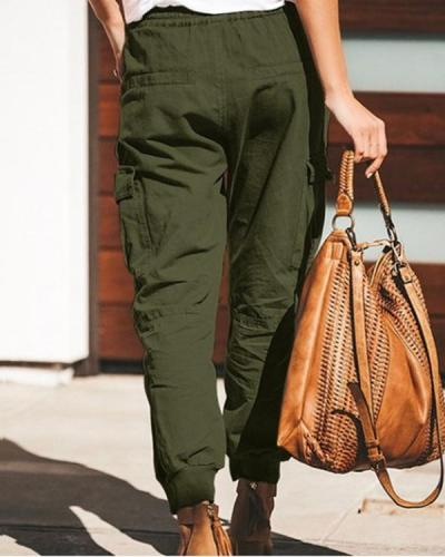 Women Casual Pure Color Pocket Elastic Waist Cargo Trousers