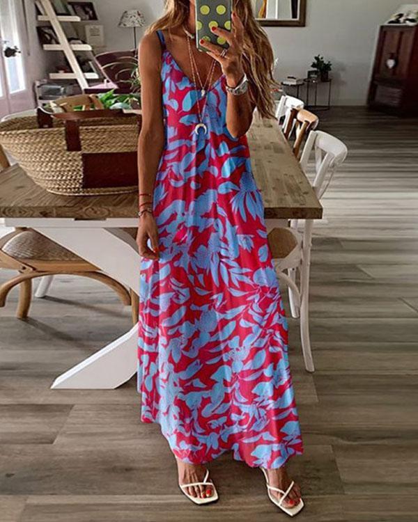 Women Printed Sexy Deep Sleeveless Cami Dress