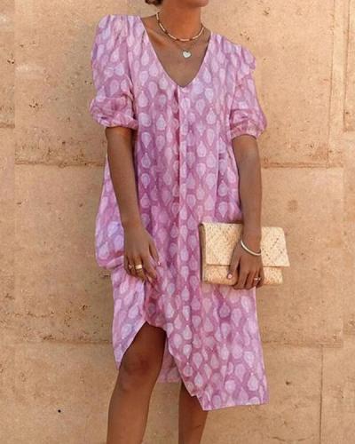 Print V-Neck Half Sleeve Shift Casual Dresses