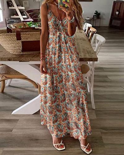 Women Bohemia Printed Sexy Deep V Sling Dress