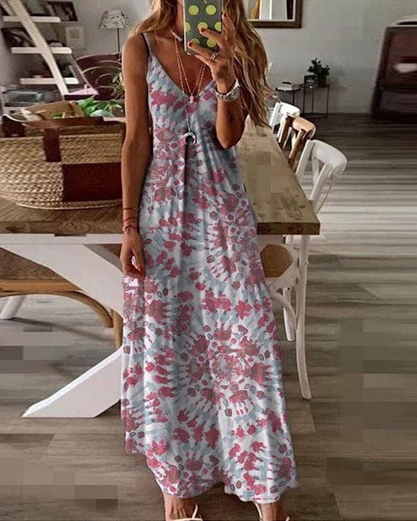 Tie Dye Printed Sexy Deep V Sling Dress