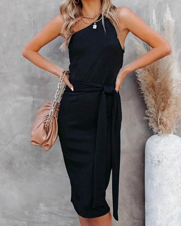 Women Sexy One Shoulder Bandage Waist Bodycon Midi Dress