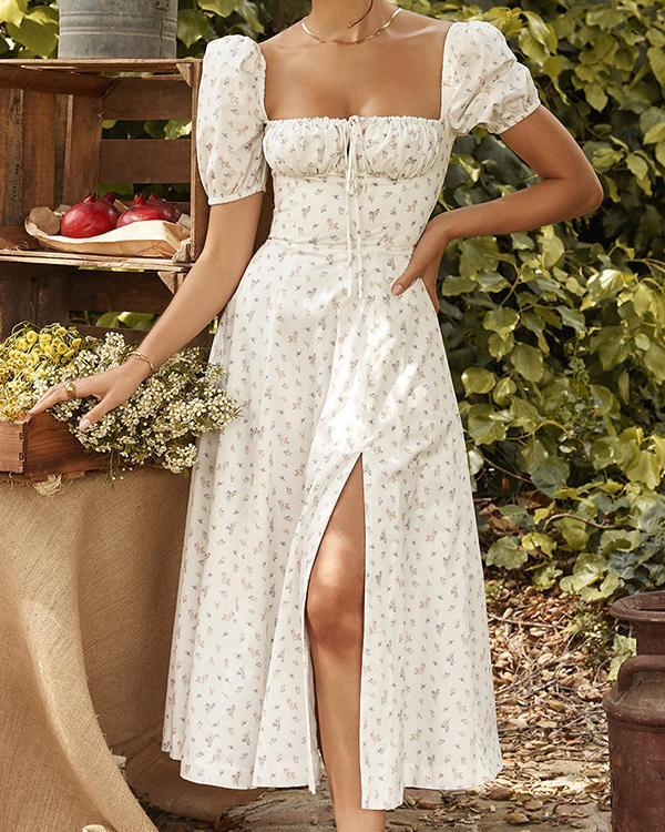 Fashionable Puff Sleeve Floral High-fork Dress