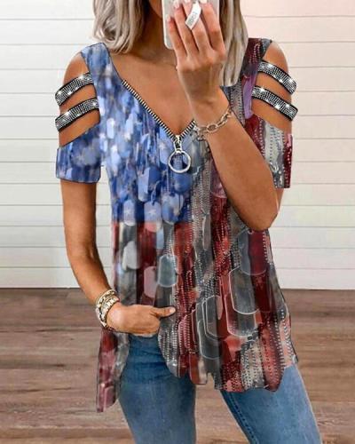 Women's Casual Zipper Short-Sleeve Graphic Tees Designer