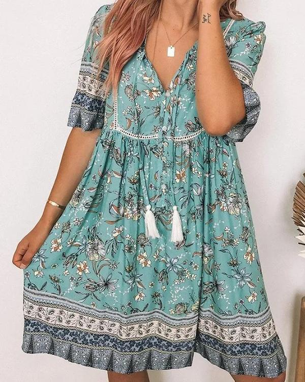 V Neck Short Sleeve Cotton-Blend Casual Dresses