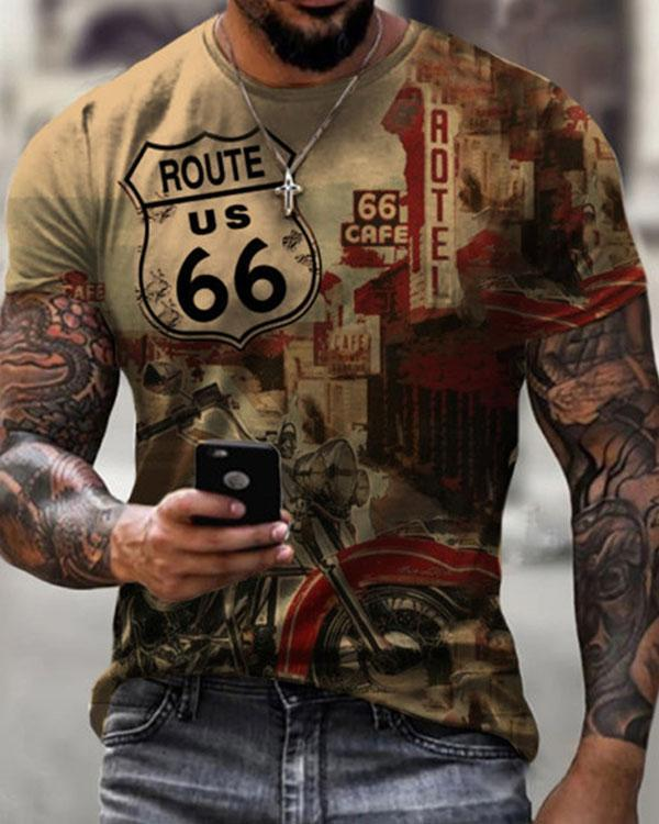 Men Motorcycle Route 66 Short Sleeve Print T-shirt