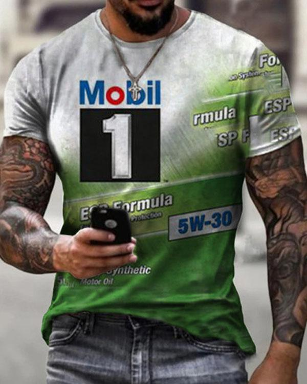 Men Street Beat Casual Short Sleeve Print T-shirt