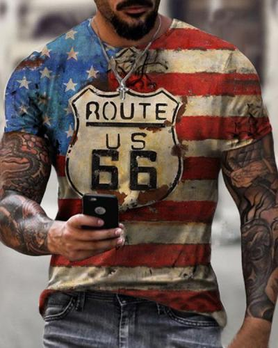 Mens Crew Neck Route 66 Flag Short Sleeve Tops T-shirts