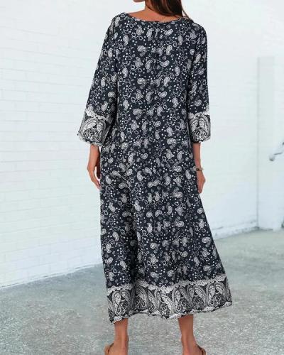 Shift V Neck 3/4 Sleeve Tribal Boho Maxi Dress