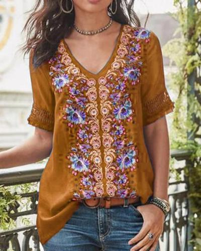 Short Sleeve Cotton-Blend Patchwork V Neck Shirts & Tops