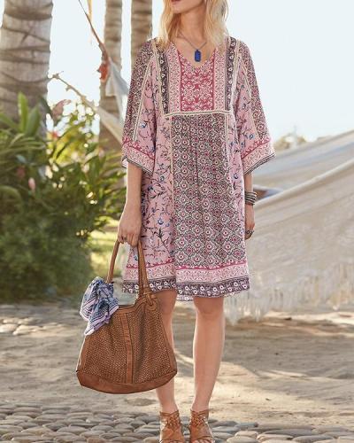 Loose Bohemian Print Dress