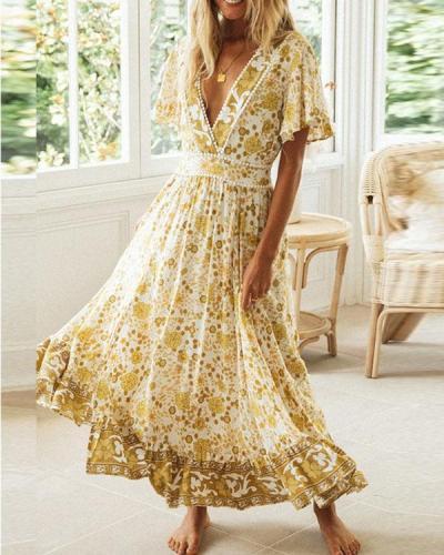 Bohemian Hollow out Back Tight Waist Deep V Neck Floral Maxi Dress