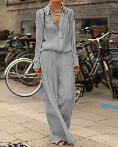 Casual Commuting Pleated Shirt And Wide Leg Pants Set