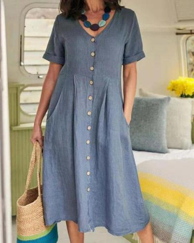 Casual Button up Solid Color Loose V-neck Linen Dress