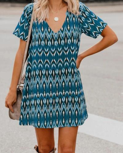 Spring/Summer Loose Short SleeveS V-Neck Print Dress Women'S Wear
