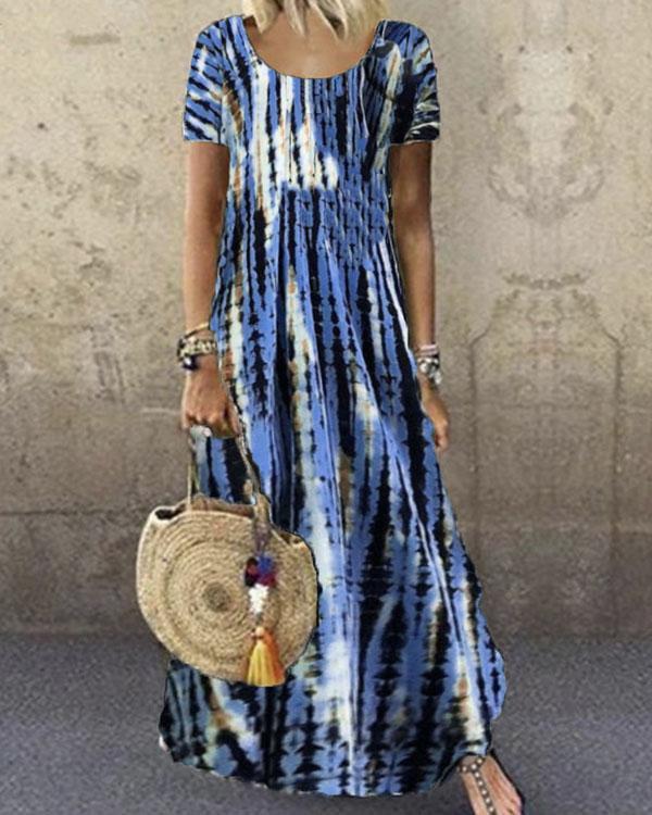 Plus Size Tie Dye Round Neck Highwaist Swing Dress