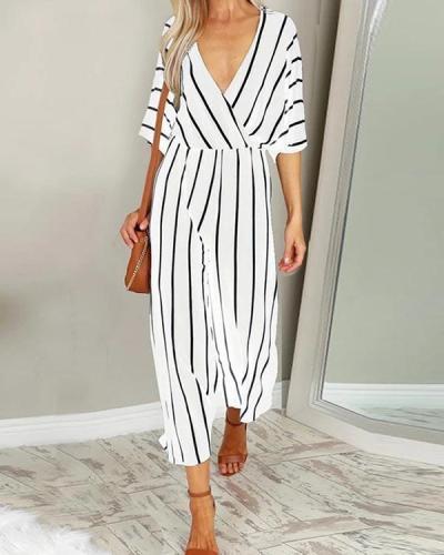 V-neck Wide-leg Striped Jumpsuit