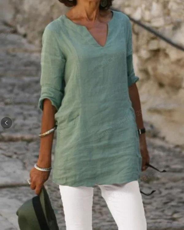 Women V Neck Plain Color Casual Linen Tops
