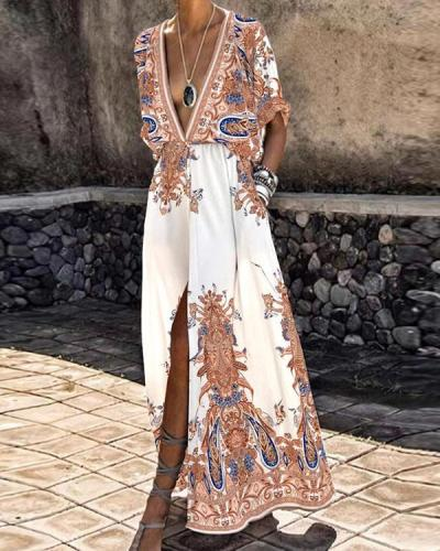 Deep V-neck Flowy Bohemian Print Party Maxi Dress