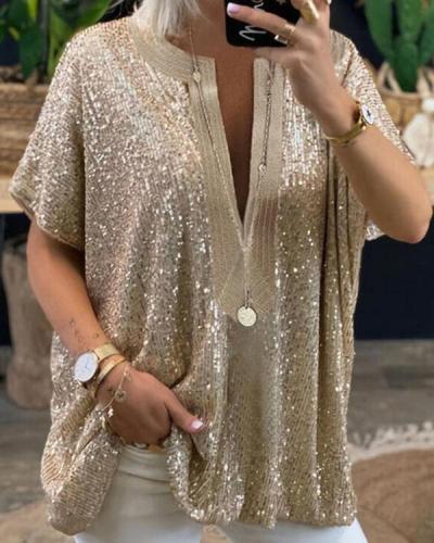 Sequins Transparent V Neck Loose Fit Women Blouse&Shirts