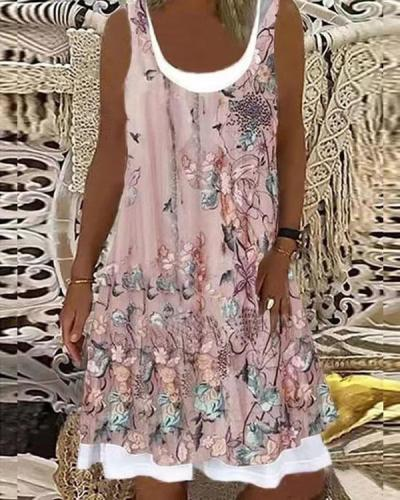 Vintage Flower Digital Print Patchwork Midi Dress