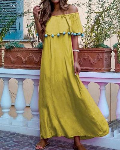 Casual Solid Color One-Shoulder Dress