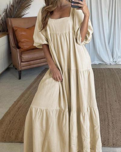 Casual Solid Color Puff Sleeve Dress
