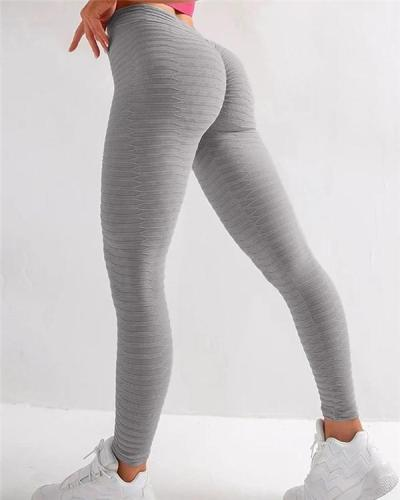 Solid Textured Butt Lifting Stretch Workout Leggings