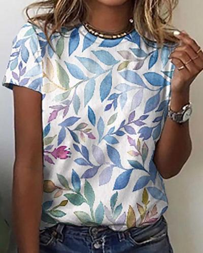 Summer Leaf Print Loose Round Neck Short Sleeves