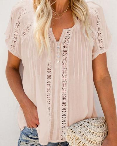 Casual Solid V Neck Lace Crochet Eyelet Shirts Tops