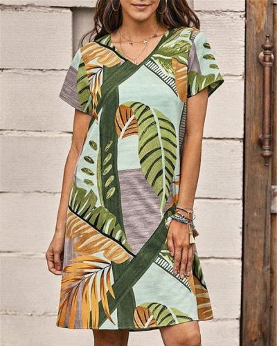 Leaf Print Loose Casual Short-sleeved Dress