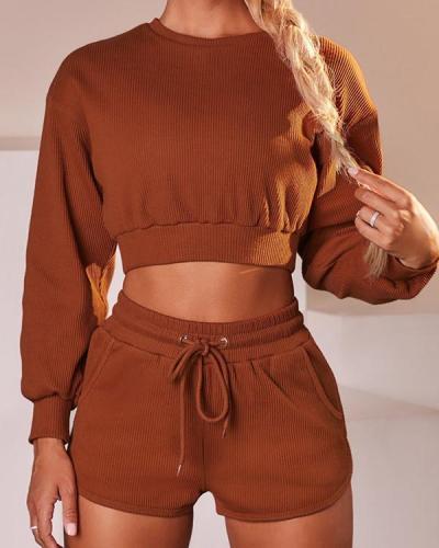 Casual Sweatshirts Sportswear Top & Shorts Suit
