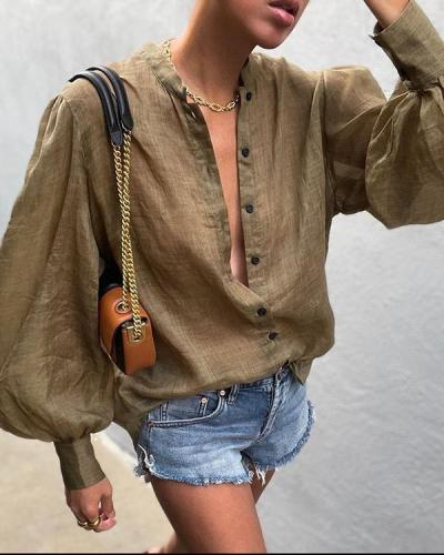 Solid Color Puff Sleeve Loose Casual Shirt