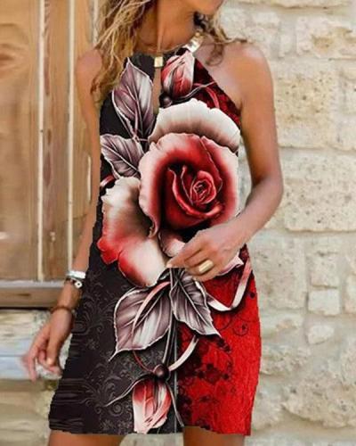 Vintage Flower Print Sexy Mini Dresses
