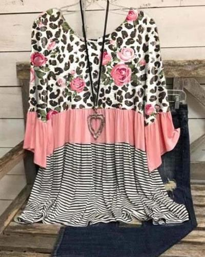 Floral Striped Leopard 3/4 Sleeve Round Neck Tunic Blouse