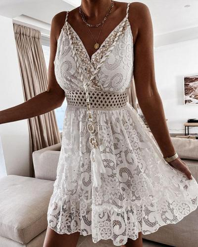 Sexy Lace Floral Crochet Mini Dress Embroidered V Neck Dress