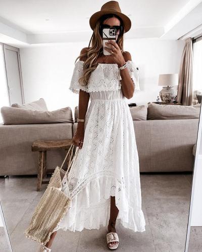 Women Lace Dress Off Shoulder Irregular Layer Dress