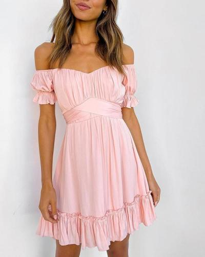 Off Shoulder Ruffles Mini Dress