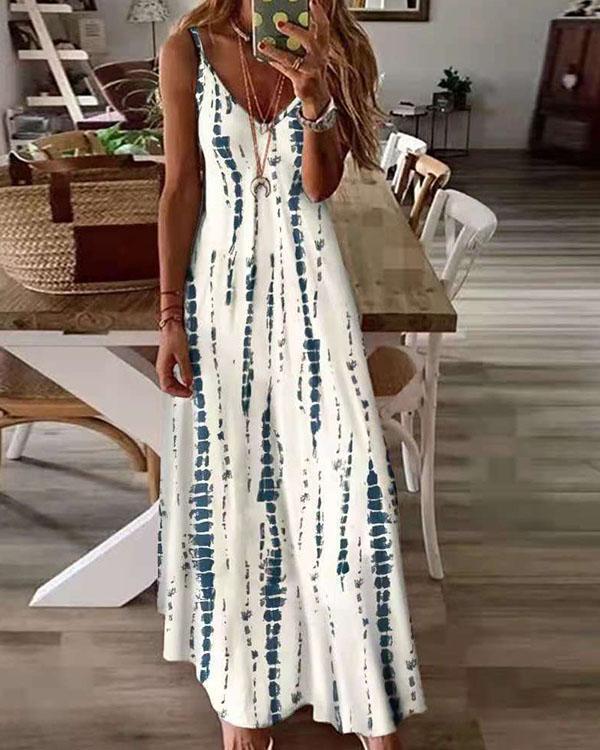 Plus SIze Women Printed Sexy Deep V Neck Tie Dye Sling Dress